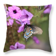 Black Blue And Orange Butterfly V3  Throw Pillow
