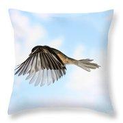 Black-capped Chickadee In Flight Throw Pillow