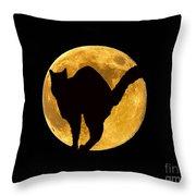 Black Cat Moon Throw Pillow