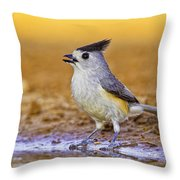 Black Crested Titmouse Throw Pillow