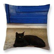 Black Greek Cat Throw Pillow