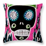 Black King Sugar Skull Angel Throw Pillow
