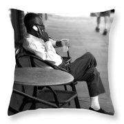Black Man Relaxing On Sidewalks Of Asheville Throw Pillow