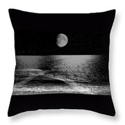 Black Night At The Shore Throw Pillow