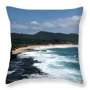 Black Rocks On The Beach Throw Pillow