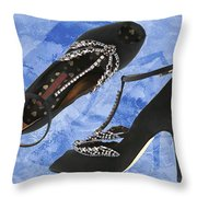 Black Satin And Crystal Dragonfly Pumps Throw Pillow