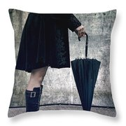 Black Umbrellla Throw Pillow by Joana Kruse