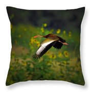 Blackbellied Whistling Duck In Flight Throw Pillow
