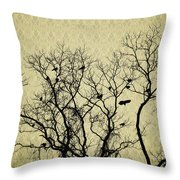 Blackbirds Roost Throw Pillow