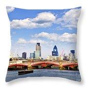 Blackfriars Bridge With London Skyline Throw Pillow