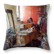 Blacksmith Shop Near Windows Throw Pillow