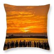 Blazing Humboldt Bay Sunset Throw Pillow
