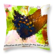 Blessed Are The Pure In Heart Throw Pillow