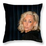 Blond Woman Sad Throw Pillow