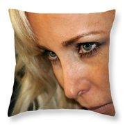 Blond Woman Strict Throw Pillow