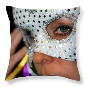 Blond Woman With Mask Throw Pillow