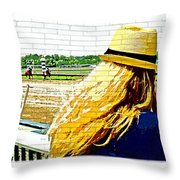 Blonde At Racetrack Throw Pillow