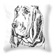 Bloodhound-art-portrait Throw Pillow