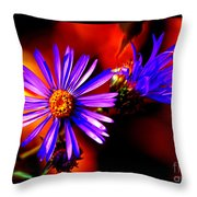 Blooming Asters Throw Pillow