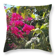 Blossoms And Breadfruit Throw Pillow