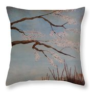 Blossoms Over The Lake Throw Pillow