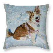 Blue - Siberian Husky Dog Painting Throw Pillow