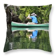 Blue Amongst The Greens - Canoeing On The St. Marks Throw Pillow