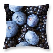 Blue And Black Berries Throw Pillow