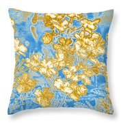Blue And Gold Floral Abstract Throw Pillow