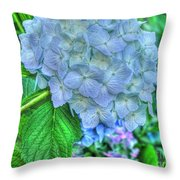 Blue And Green Flora Throw Pillow