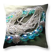 Blue And Silver Bead Bracelet Throw Pillow