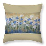 Blue And White Flora Throw Pillow