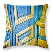 Blue And Yellow Door Throw Pillow
