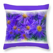 Blue Asters - Watercolor Throw Pillow