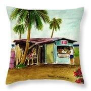 Blue Beach Shack Los Pinones Puerto Rico Throw Pillow