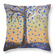 Blue-blossomed Wishing Tree Throw Pillow