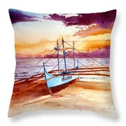Blue Boat On The Shore Throw Pillow