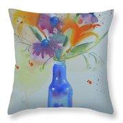 Blue Bottle Bouquet Throw Pillow