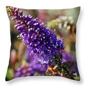 Blue Brush Bloom Throw Pillow