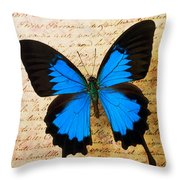 Blue Butterfly On Old Letter Throw Pillow