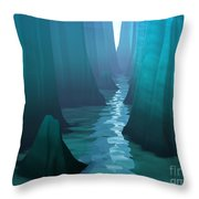 Blue Canyon River Throw Pillow