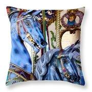 Blue Carousel Merry Go Round Horses Throw Pillow