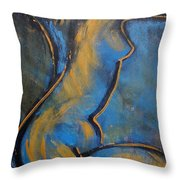 Blue Caryatid - Nudes Gallery Throw Pillow