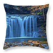 Blue Cascade Falls Throw Pillow