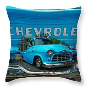 Blue Chevy Pickup Dbl. Exposure Throw Pillow