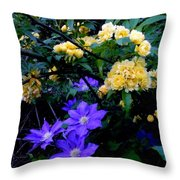 Blue Clematis With Yellow Lady Banks Rose Throw Pillow