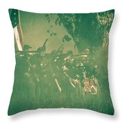 Blue Coats Fire Throw Pillow