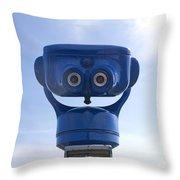 Blue Coin-operated Binoculars Throw Pillow