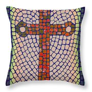 Blue Cross Throw Pillow