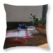 Blue Cup At Christmas  Throw Pillow